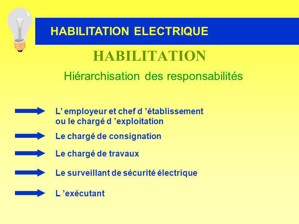 L employeur et chef d établissement ou le chargé d exploitation Le chargé de consignation Le chargé de travaux Le surveillant de sécurité électrique L