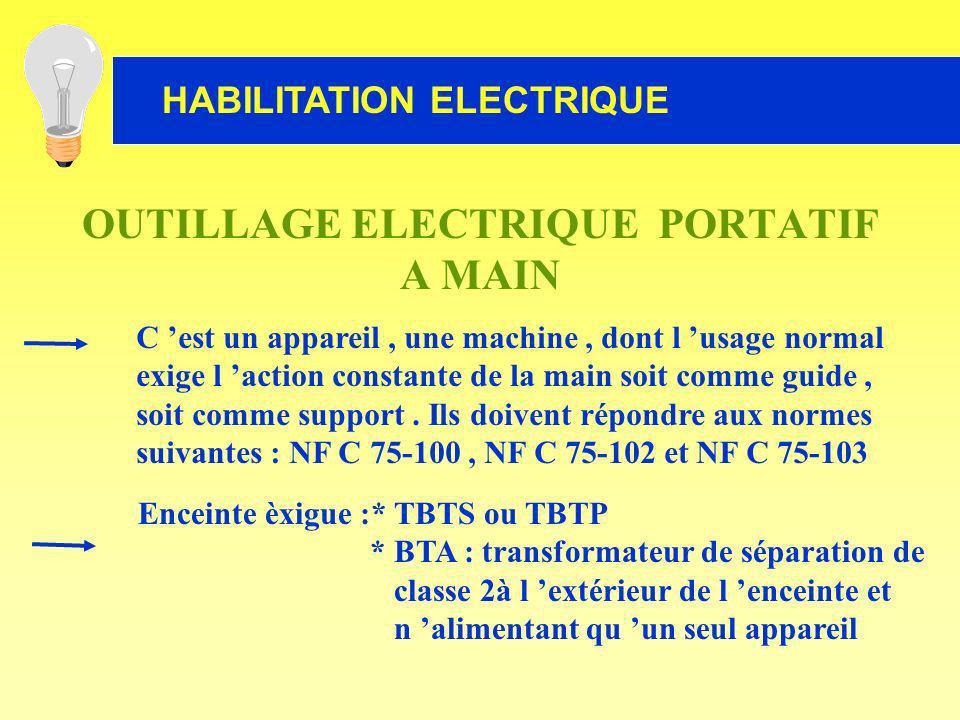 HABILITATION ELECTRIQUE OUTILLAGE ELECTRIQUE PORTATIF A MAIN C est un appareil, une machine, dont l usage normal exige l action constante de la main s