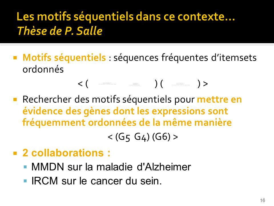 16 Motifs séquentiels : séquences fréquentes ditemsets ordonnés Rechercher des motifs séquentiels pour mettre en évidence des gènes dont les expressio