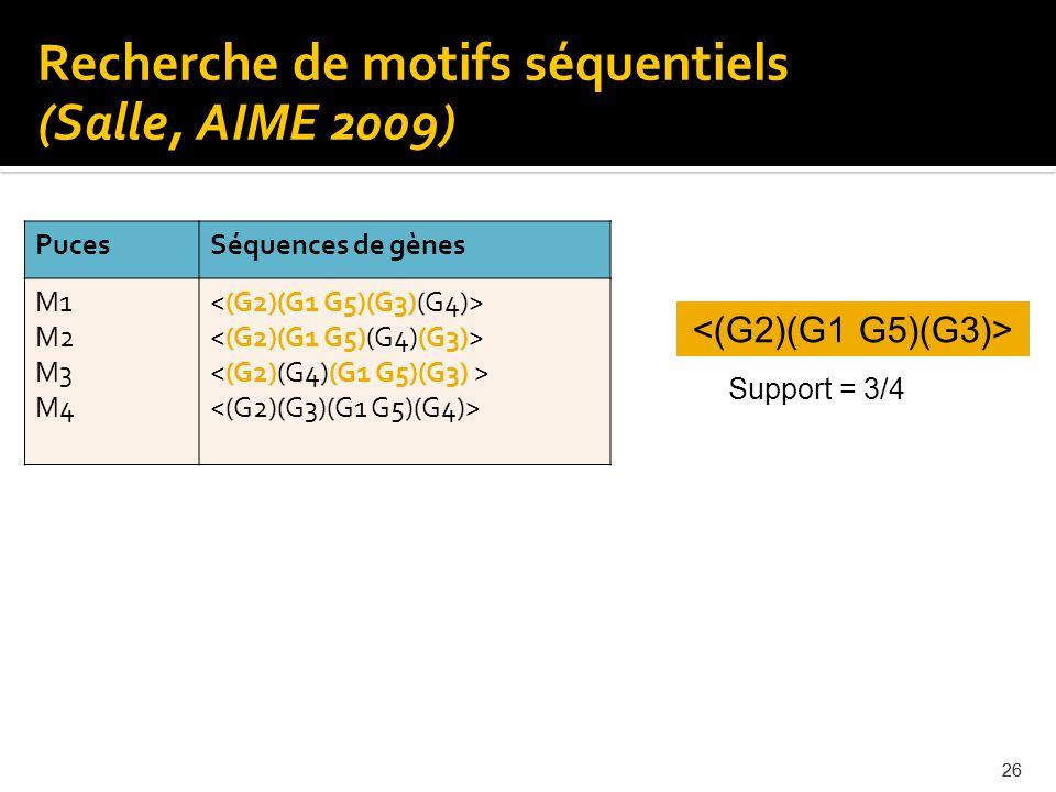 26 Recherche de motifs séquentiels (Salle, AIME 2009) Support = 3/4 PucesSéquences de gènes M1 M2 M3 M4