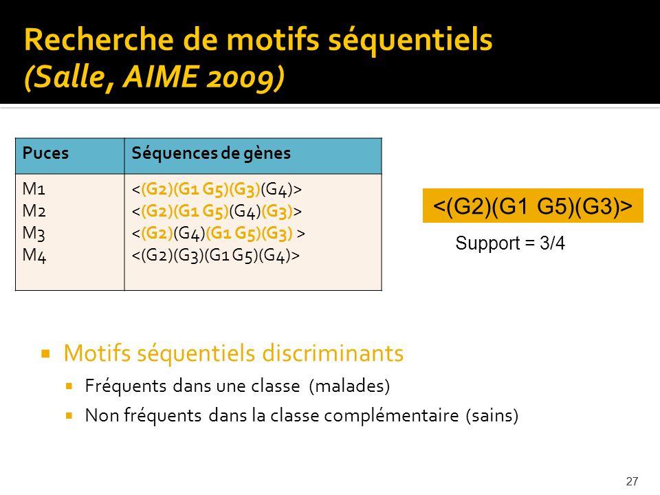27 Motifs séquentiels discriminants Fréquents dans une classe (malades) Non fréquents dans la classe complémentaire (sains) Recherche de motifs séquen
