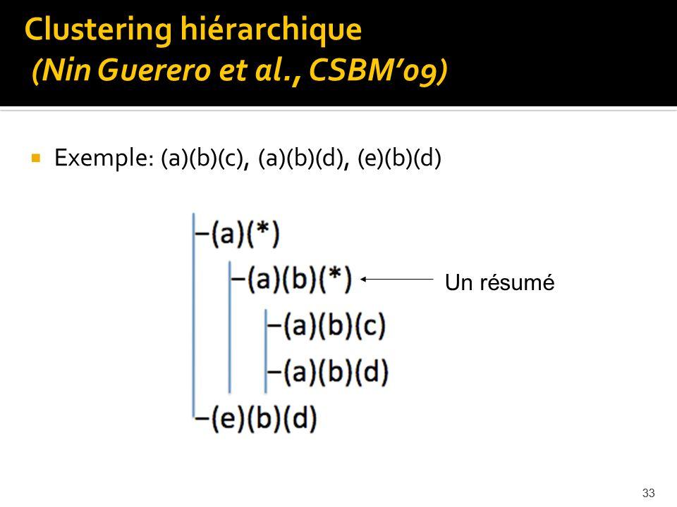 33 Exemple: (a)(b)(c), (a)(b)(d), (e)(b)(d) 33 Un résumé Clustering hiérarchique (Nin Guerero et al., CSBM09)