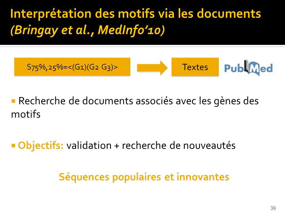 39 Recherche de documents associés avec les gènes des motifs Objectifs: validation + recherche de nouveautés Séquences populaires et innovantes S75%,2