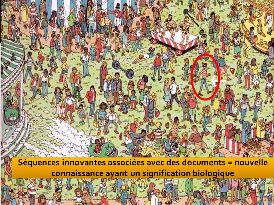 41 11/03/201441 Séquences innovantes associées avec des documents = nouvelle connaissance ayant un signification biologique