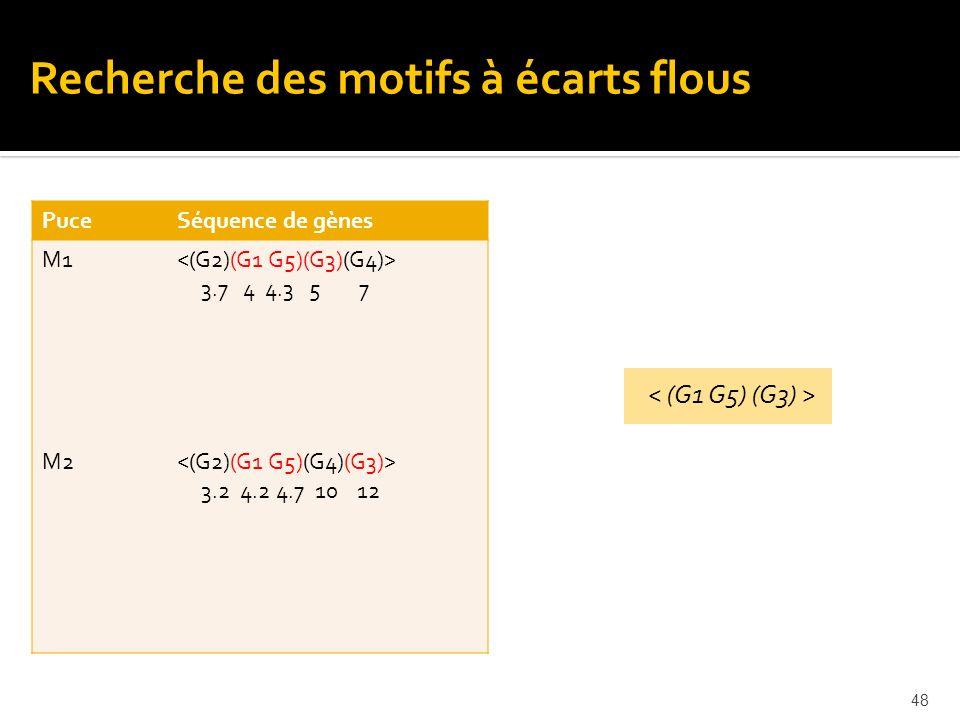 48 PuceSéquence de gènes M1 M2 3.7 4 4.3 5 7 3.2 4.2 4.7 10 12 Recherche des motifs à écarts flous