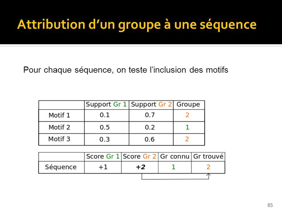 65 Pour chaque séquence, on teste linclusion des motifs Attribution dun groupe à une séquence