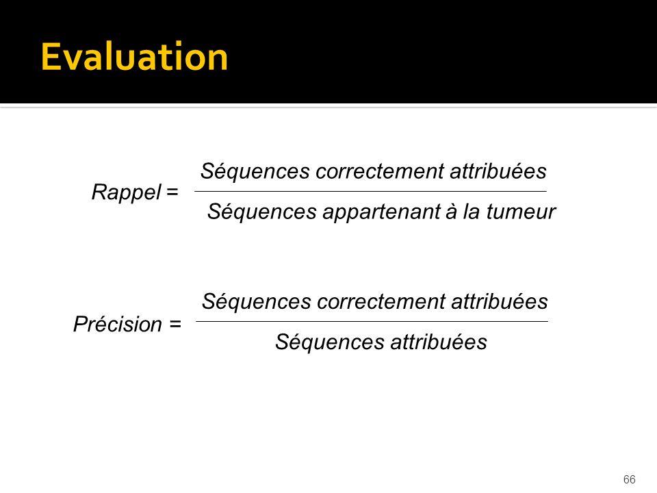 66 Rappel = Séquences correctement attribuées Séquences appartenant à la tumeur Evaluation Précision = Séquences correctement attribuées Séquences att