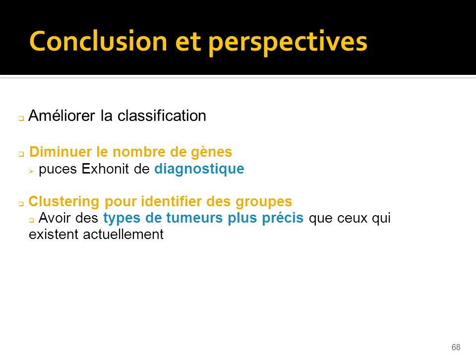 68 Conclusion et perspectives Améliorer la classification Diminuer le nombre de gènes puces Exhonit de diagnostique Clustering pour identifier des gro