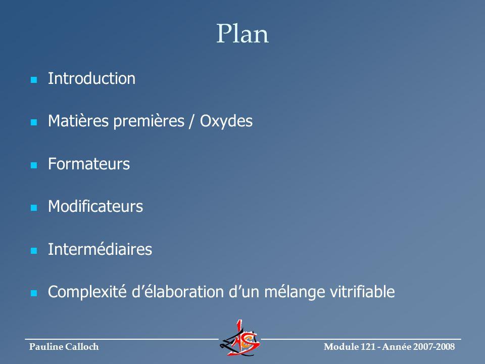 Module 121 - Année 2007-2008 _____________________________ ______________________________ Pauline Calloch Plan Introduction Matières premières / Oxyde