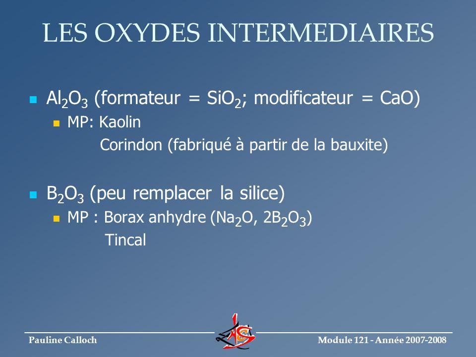 Module 121 - Année 2007-2008 _____________________________ ______________________________ Pauline Calloch LES OXYDES INTERMEDIAIRES Al 2 O 3 (formateu