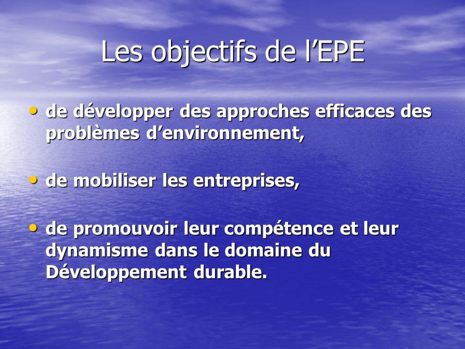 Les objectifs de lEPE de développer des approches efficaces des problèmes denvironnement, de développer des approches efficaces des problèmes denviron