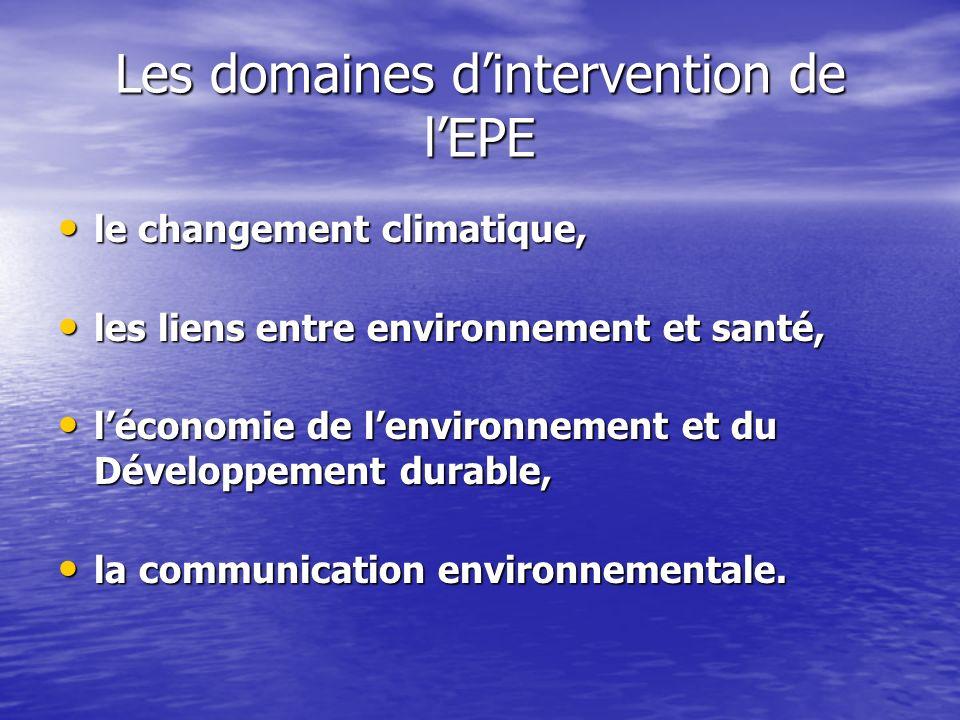Les domaines dintervention de lEPE le changement climatique, le changement climatique, les liens entre environnement et santé, les liens entre environ