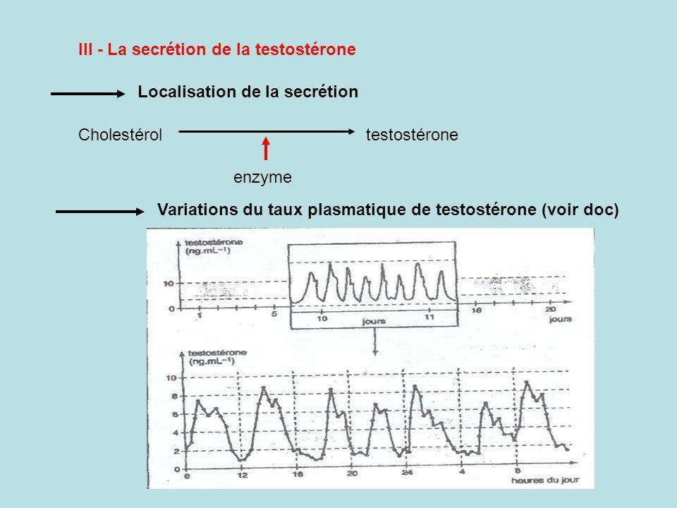 III - La secrétion de la testostérone Cholestérol testostérone enzyme Variations du taux plasmatique de testostérone (voir doc) Localisation de la secrétion