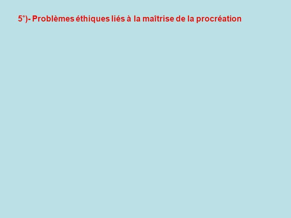 5°)- Problèmes éthiques liés à la maîtrise de la procréation