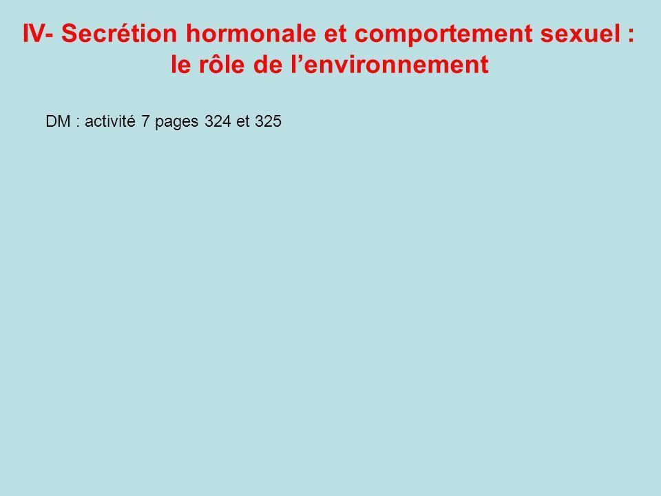 IV- Secrétion hormonale et comportement sexuel : le rôle de lenvironnement DM : activité 7 pages 324 et 325