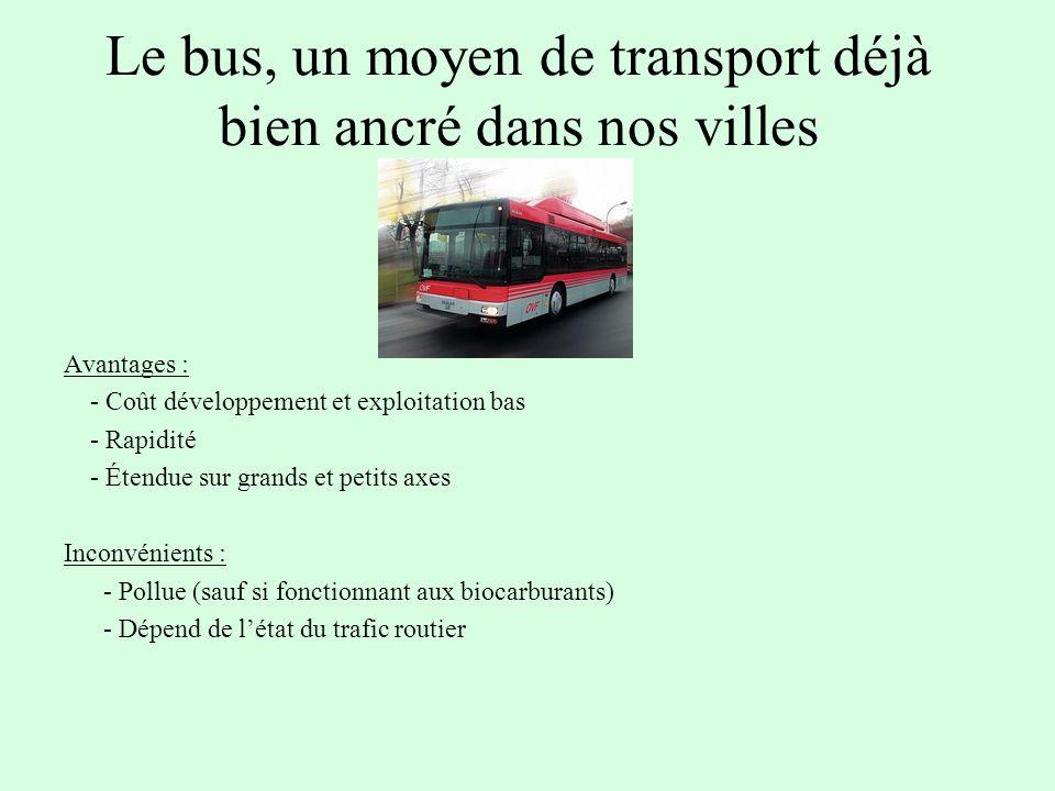 Le bus, un moyen de transport déjà bien ancré dans nos villes Avantages : - Coût développement et exploitation bas - Rapidité - Étendue sur grands et petits axes Inconvénients : - Pollue (sauf si fonctionnant aux biocarburants) - Dépend de létat du trafic routier