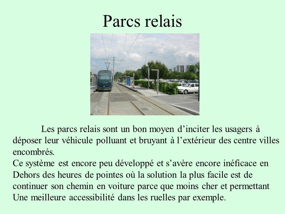 Parcs relais Les parcs relais sont un bon moyen dinciter les usagers à déposer leur véhicule polluant et bruyant à lextérieur des centre villes encombrés.