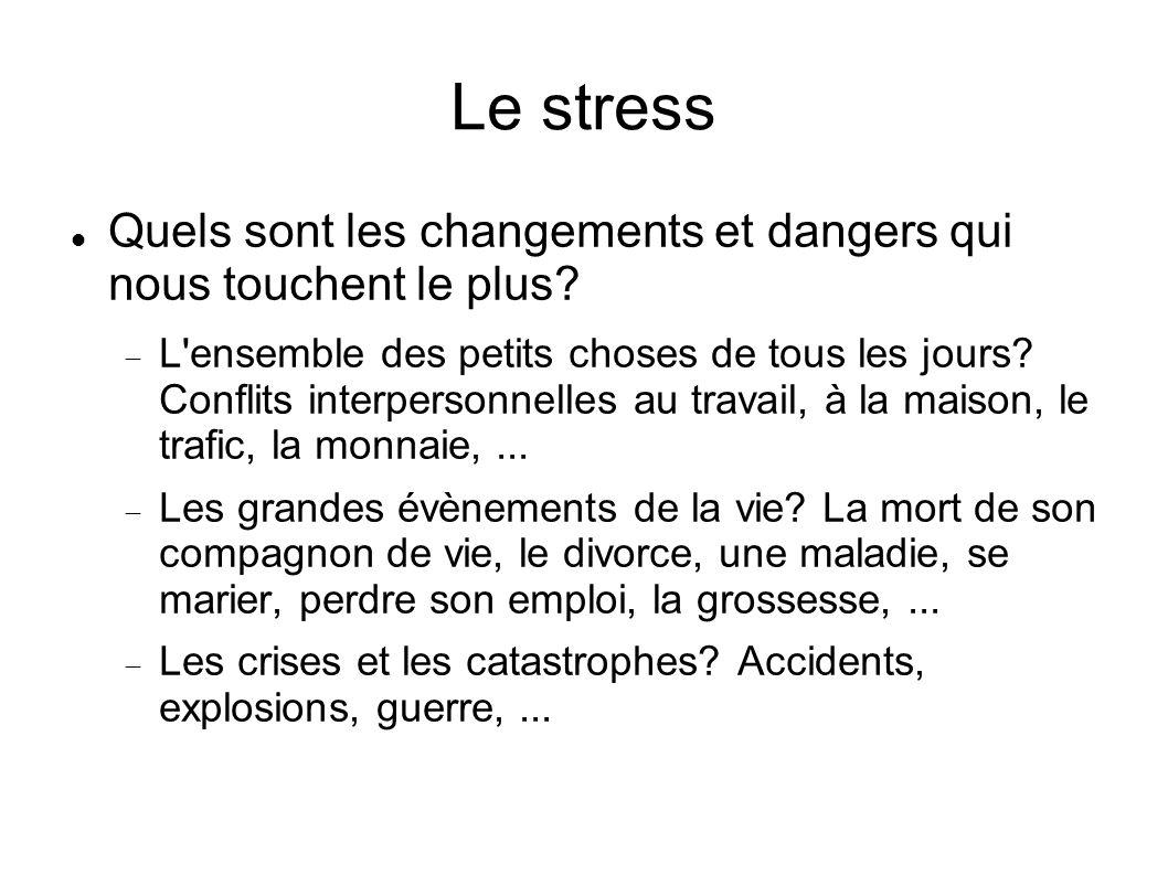 Le stress Quels sont les changements et dangers qui nous touchent le plus.