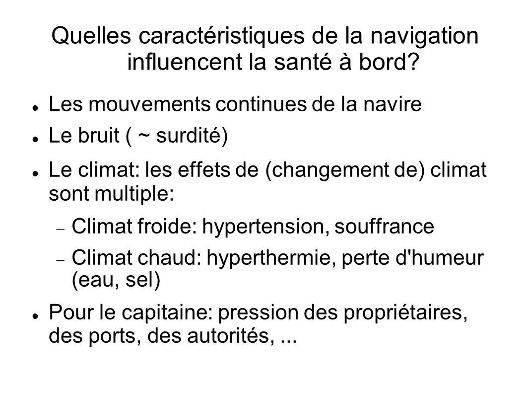 Quelles caractéristiques de la navigation influencent la santé à bord.