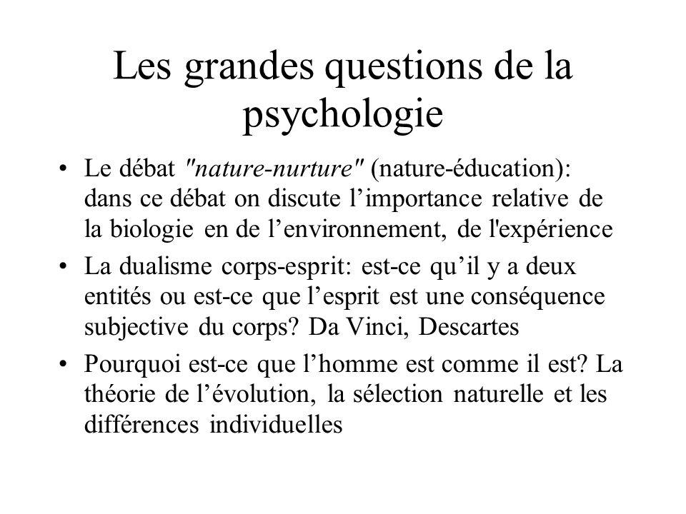 Les grandes questions de la psychologie Le débat