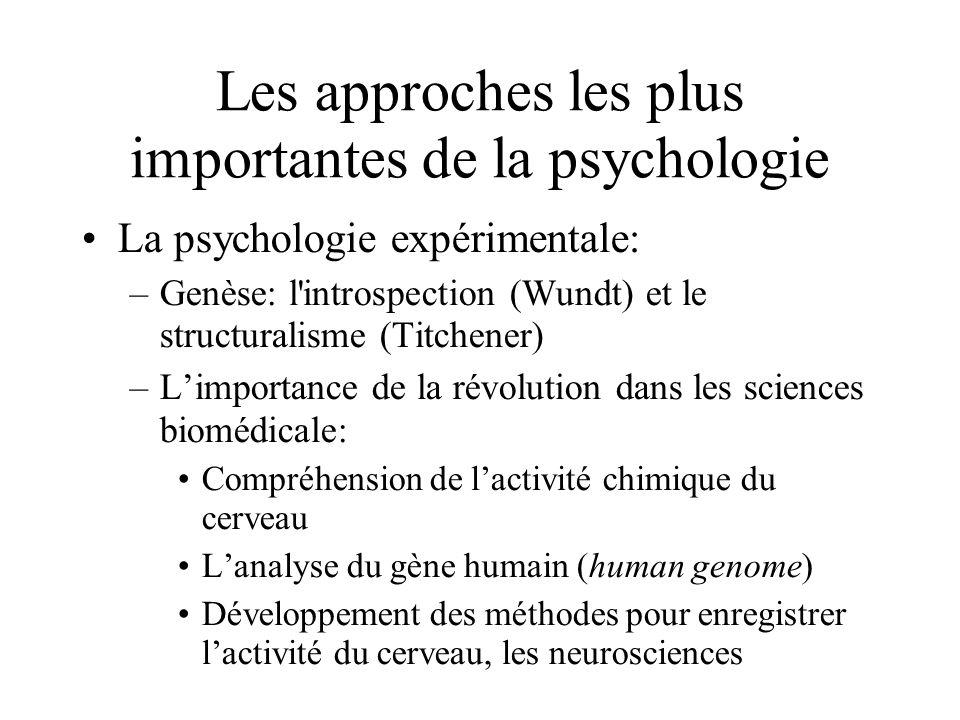 Les approches les plus importantes de la psychologie La psychologie expérimentale: –Genèse: l'introspection (Wundt) et le structuralisme (Titchener) –