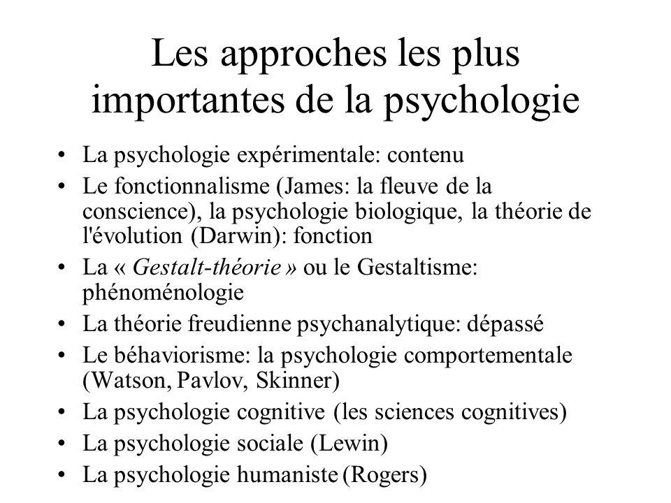 Les approches les plus importantes de la psychologie La psychologie expérimentale: contenu Le fonctionnalisme (James: la fleuve de la conscience), la