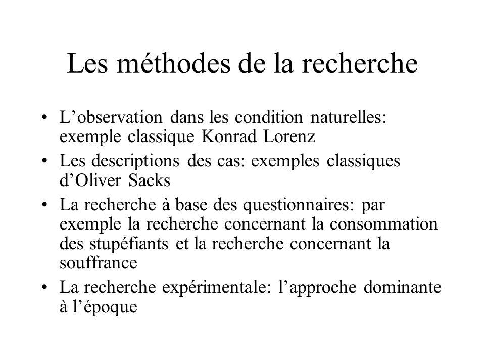 Les méthodes de la recherche Lobservation dans les condition naturelles: exemple classique Konrad Lorenz Les descriptions des cas: exemples classiques