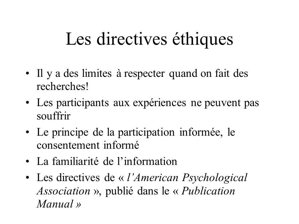 Les directives éthiques Il y a des limites à respecter quand on fait des recherches! Les participants aux expériences ne peuvent pas souffrir Le princ