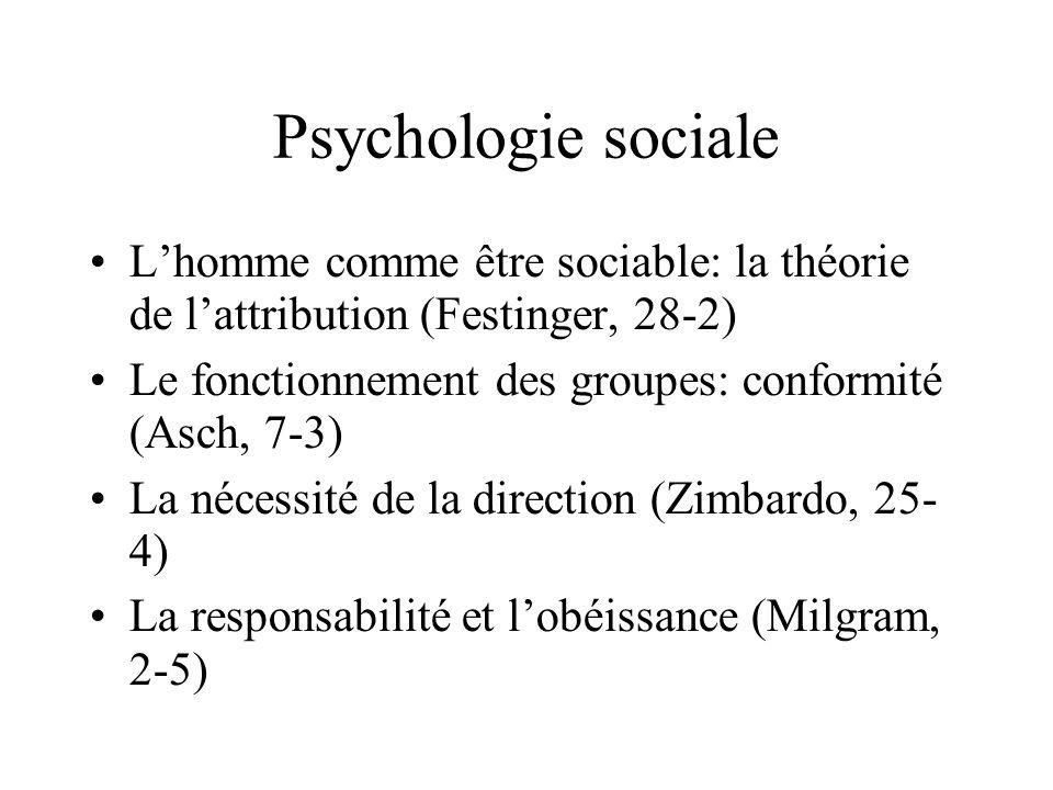 Psychologie sociale Lhomme comme être sociable: la théorie de lattribution (Festinger, 28-2) Le fonctionnement des groupes: conformité (Asch, 7-3) La