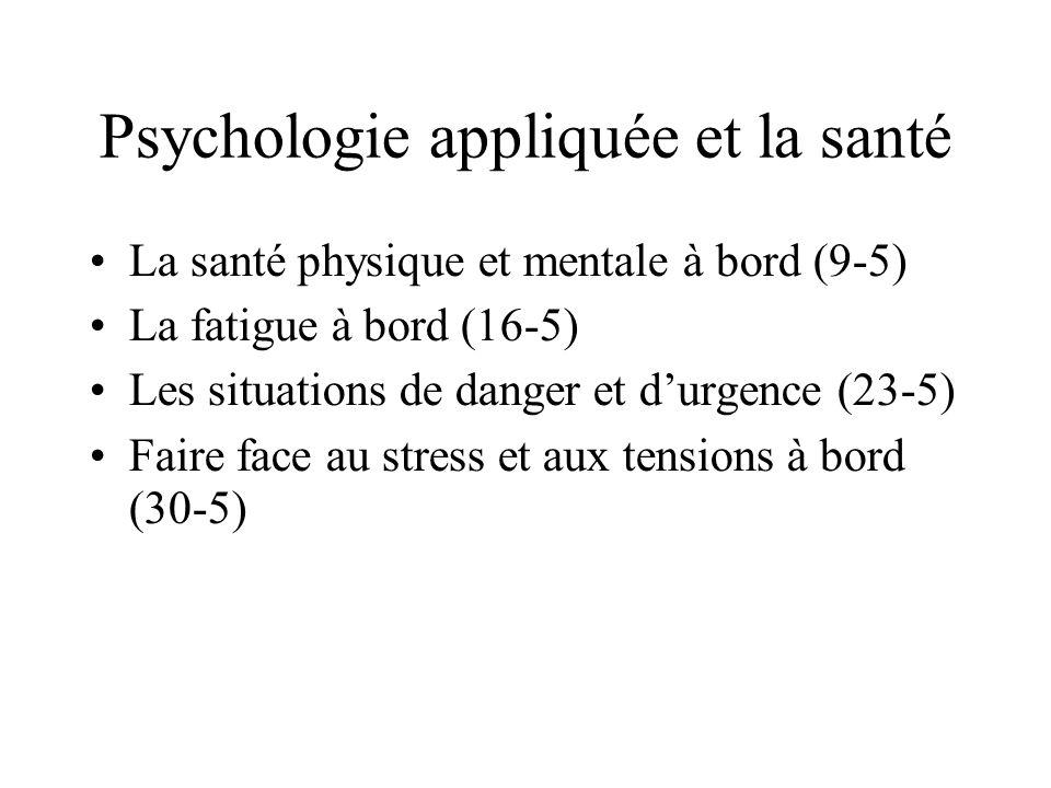 Psychologie appliquée et la santé La santé physique et mentale à bord (9-5) La fatigue à bord (16-5) Les situations de danger et durgence (23-5) Faire