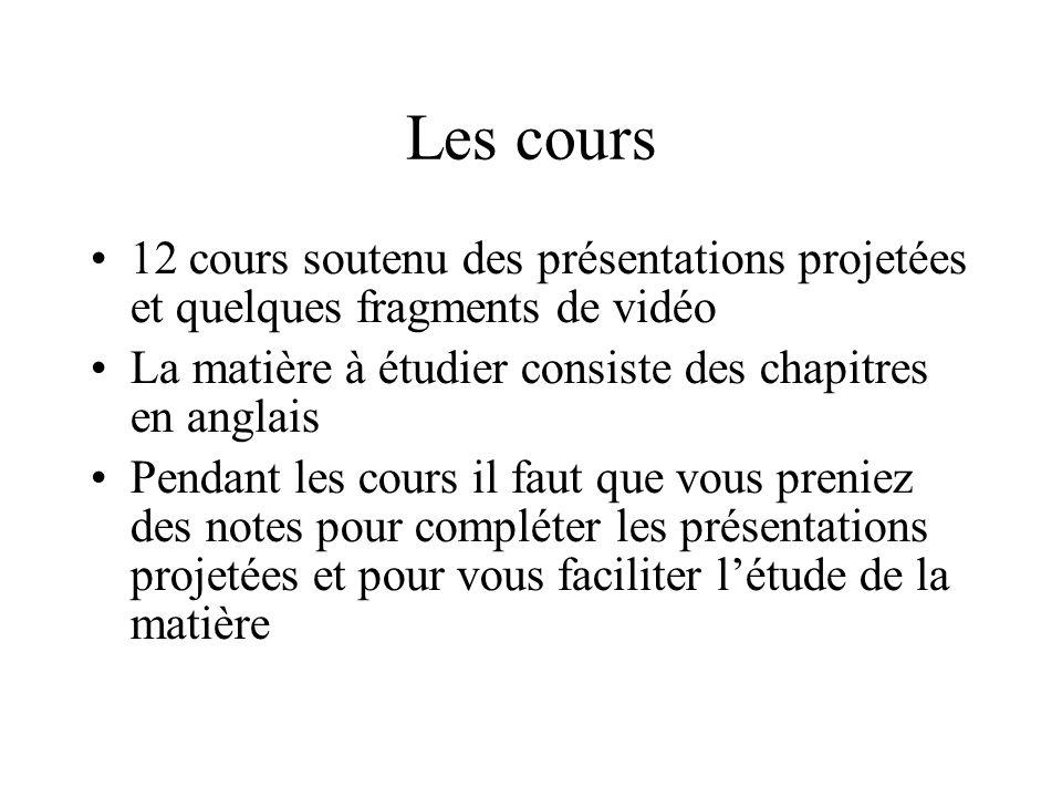 Les cours 12 cours soutenu des présentations projetées et quelques fragments de vidéo La matière à étudier consiste des chapitres en anglais Pendant l
