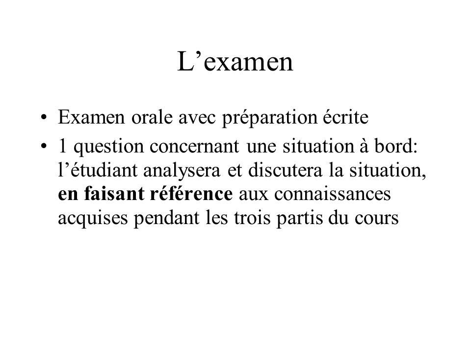 Lexamen Examen orale avec préparation écrite 1 question concernant une situation à bord: létudiant analysera et discutera la situation, en faisant réf