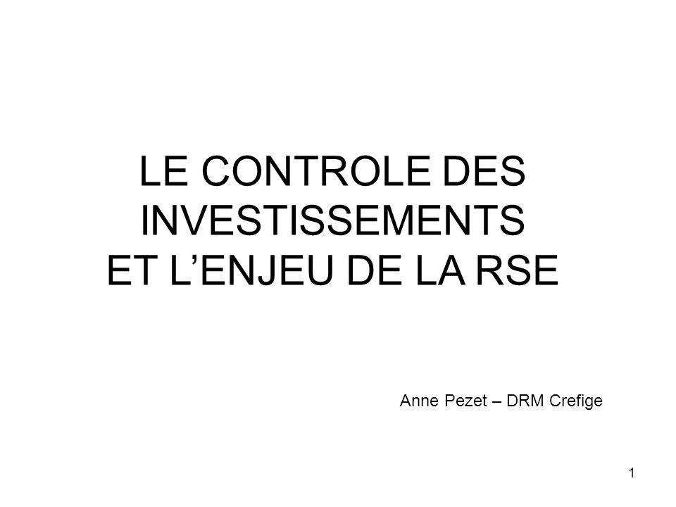 1 LE CONTROLE DES INVESTISSEMENTS ET LENJEU DE LA RSE Anne Pezet – DRM Crefige