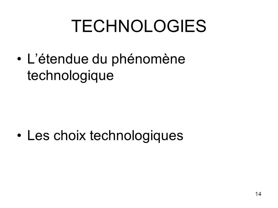 14 TECHNOLOGIES Létendue du phénomène technologique Les choix technologiques