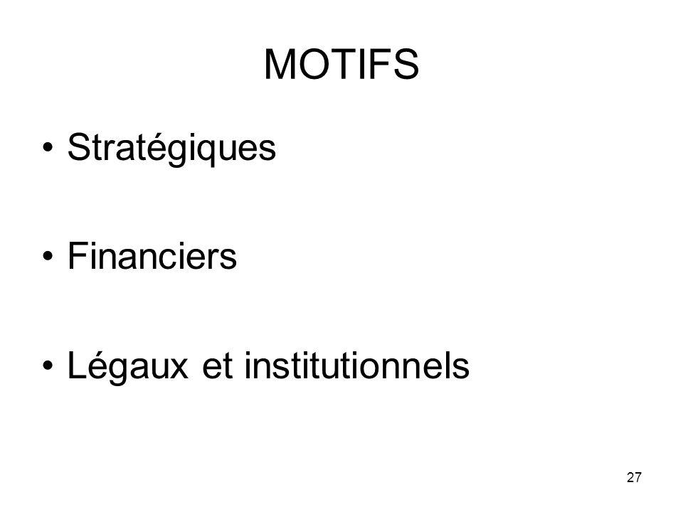 27 MOTIFS Stratégiques Financiers Légaux et institutionnels