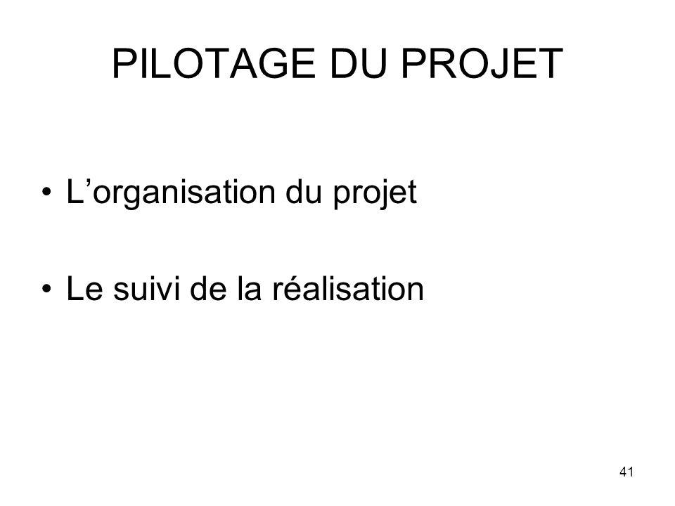 41 PILOTAGE DU PROJET Lorganisation du projet Le suivi de la réalisation