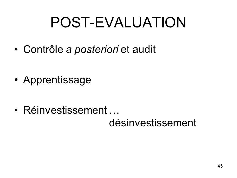 43 POST-EVALUATION Contrôle a posteriori et audit Apprentissage Réinvestissement … désinvestissement