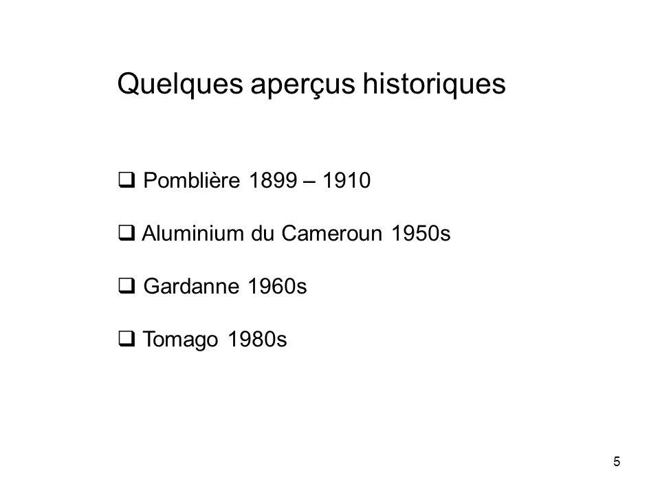 5 Quelques aperçus historiques Pomblière 1899 – 1910 Aluminium du Cameroun 1950s Gardanne 1960s Tomago 1980s