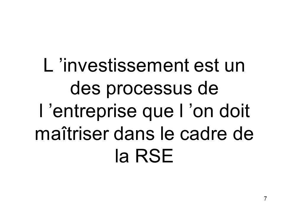 7 L investissement est un des processus de l entreprise que l on doit maîtriser dans le cadre de la RSE