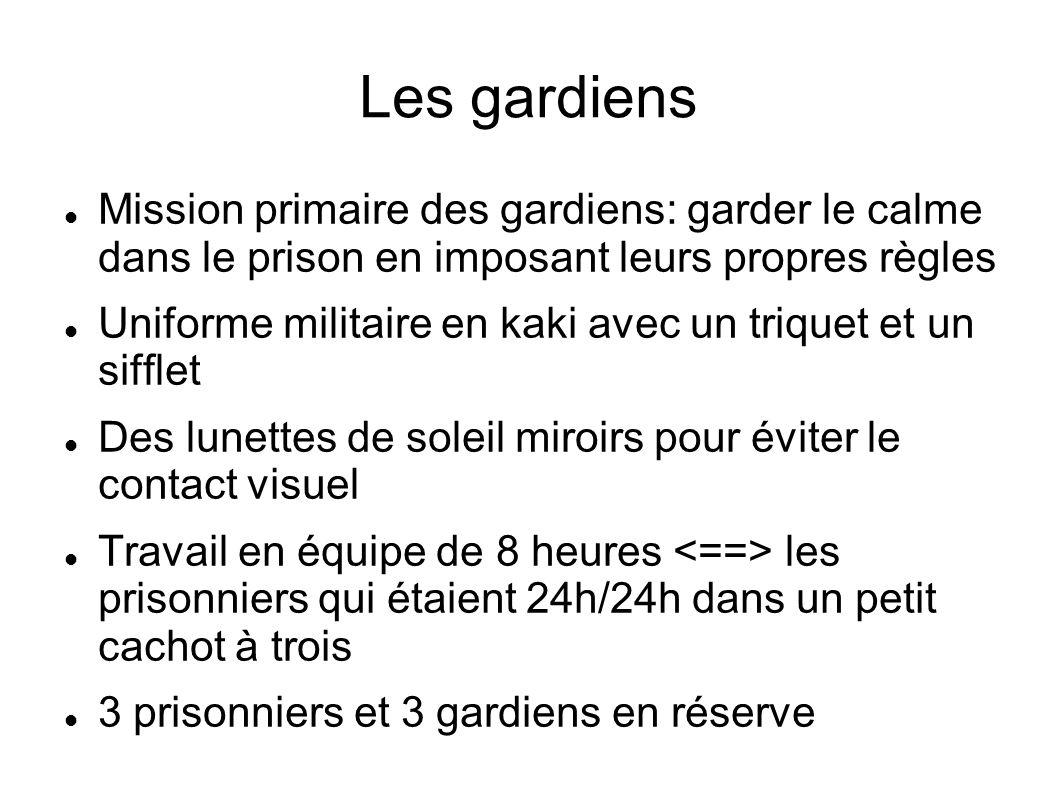 Les gardiens Mission primaire des gardiens: garder le calme dans le prison en imposant leurs propres règles Uniforme militaire en kaki avec un triquet