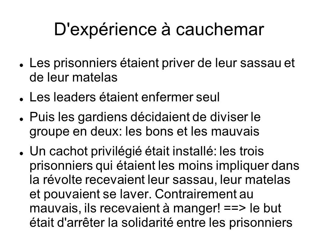 D'expérience à cauchemar Les prisonniers étaient priver de leur sassau et de leur matelas Les leaders étaient enfermer seul Puis les gardiens décidaie