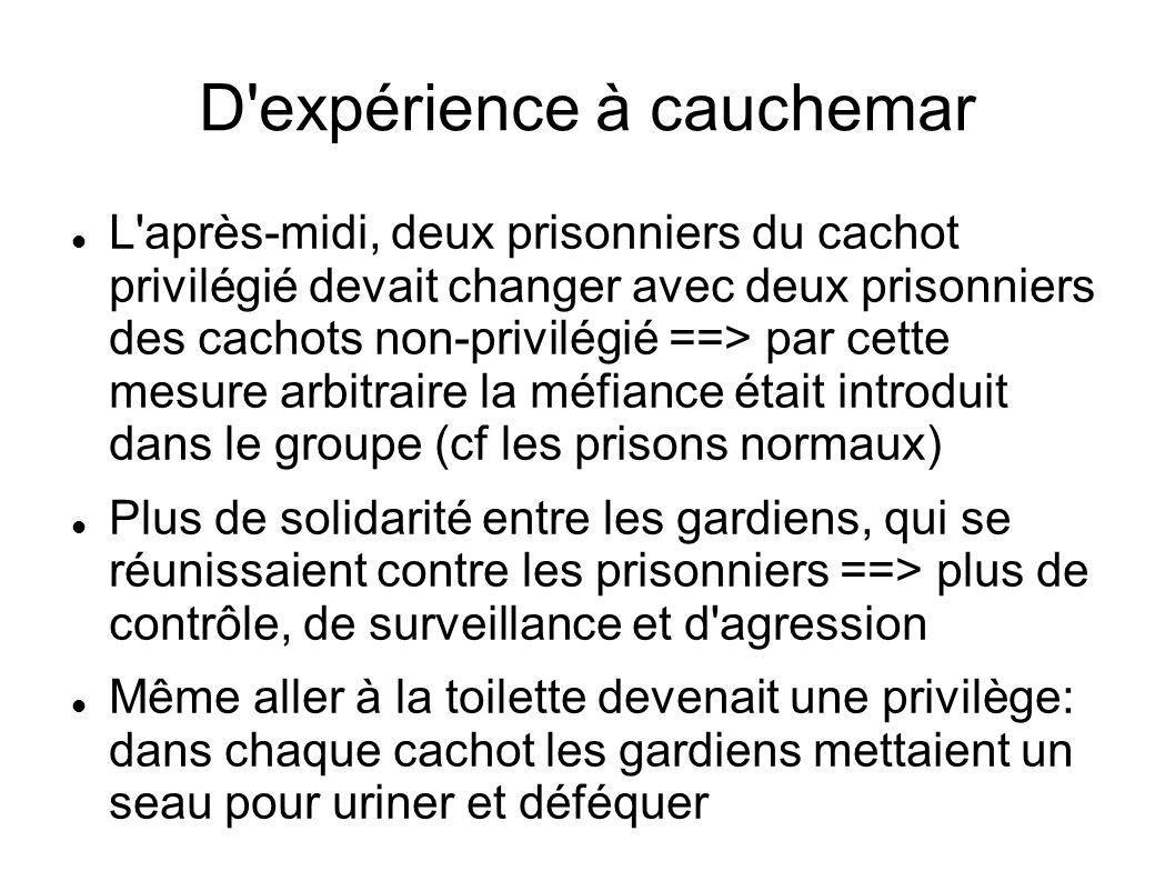 D'expérience à cauchemar L'après-midi, deux prisonniers du cachot privilégié devait changer avec deux prisonniers des cachots non-privilégié ==> par c