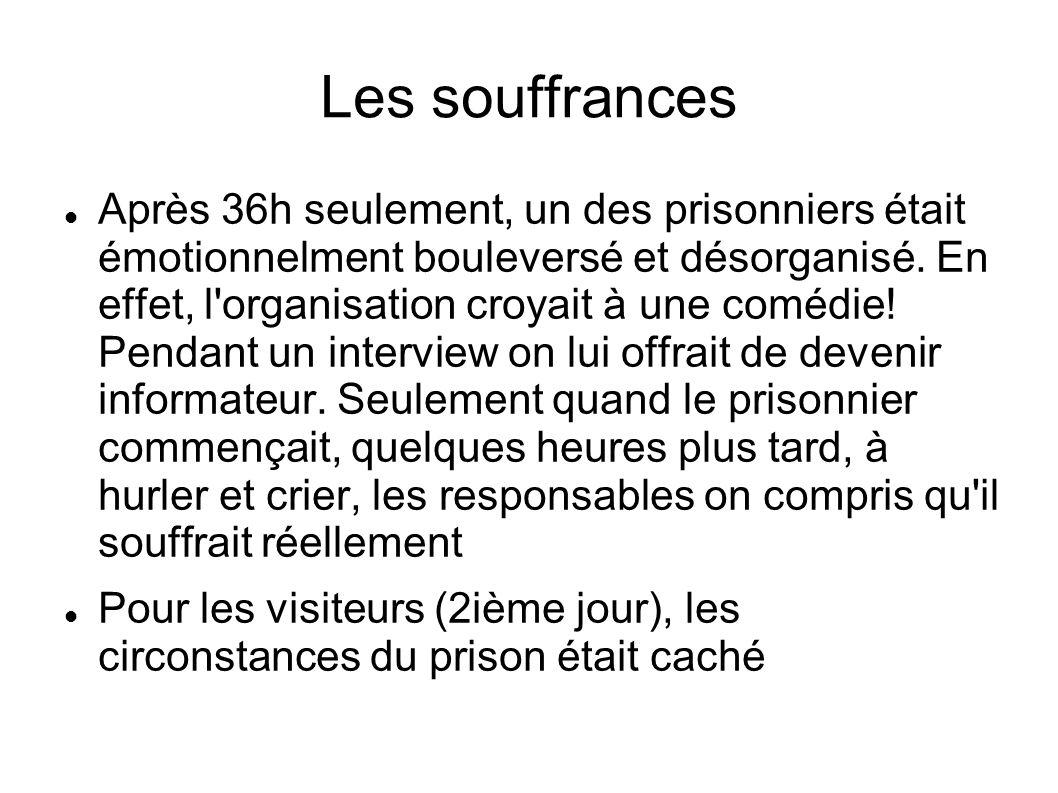 Les souffrances Après 36h seulement, un des prisonniers était émotionnelment bouleversé et désorganisé. En effet, l'organisation croyait à une comédie
