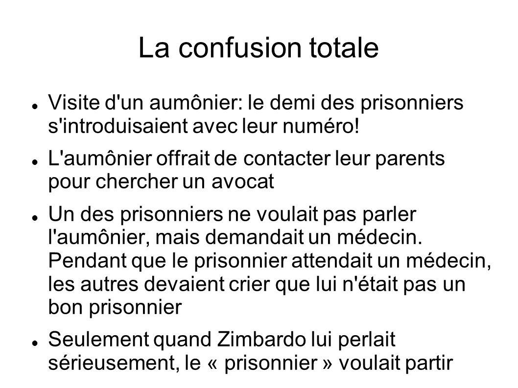 La confusion totale Visite d'un aumônier: le demi des prisonniers s'introduisaient avec leur numéro! L'aumônier offrait de contacter leur parents pour