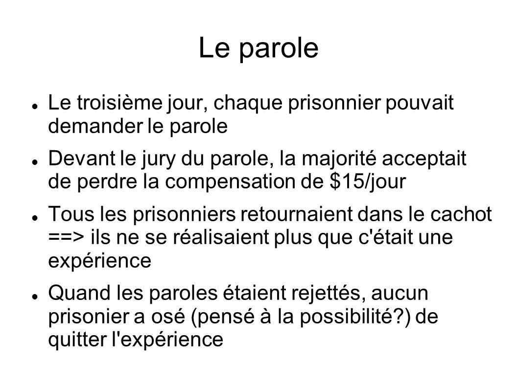 Le parole Le troisième jour, chaque prisonnier pouvait demander le parole Devant le jury du parole, la majorité acceptait de perdre la compensation de