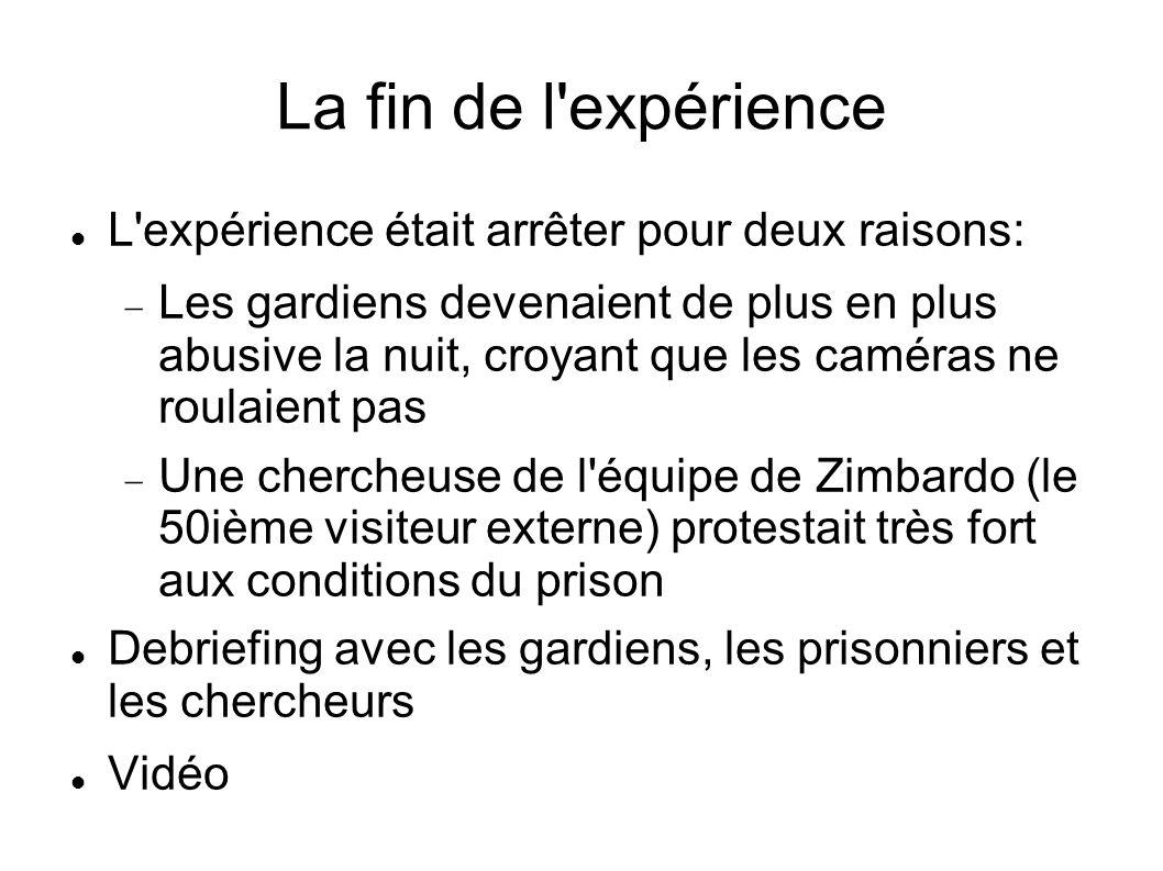 La fin de l'expérience L'expérience était arrêter pour deux raisons: Les gardiens devenaient de plus en plus abusive la nuit, croyant que les caméras