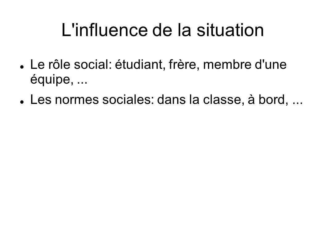 L'influence de la situation Le rôle social: étudiant, frère, membre d'une équipe,... Les normes sociales: dans la classe, à bord,...
