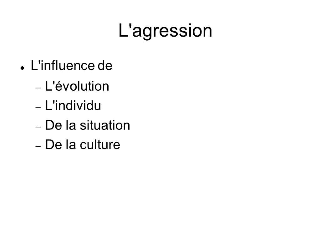 L'agression L'influence de L'évolution L'individu De la situation De la culture