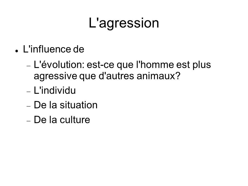 L'agression L'influence de L'évolution: est-ce que l'homme est plus agressive que d'autres animaux? L'individu De la situation De la culture