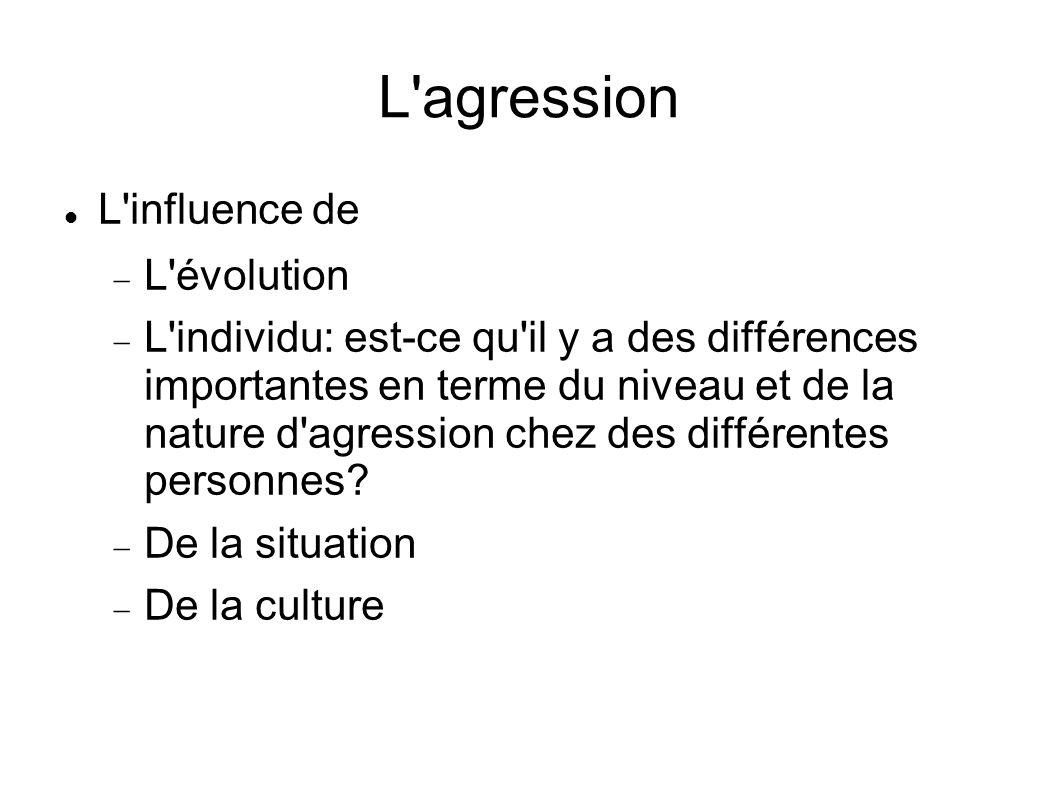 L'agression L'influence de L'évolution L'individu: est-ce qu'il y a des différences importantes en terme du niveau et de la nature d'agression chez de